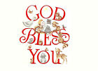 Ceramic Decals Christmas GOB BLESS YOU Graphic Nativity Animals Star image