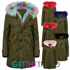 Womens Khaki Parka Jacket Ladies Pink Rainbow Fur Trim Fishtail Long Hooded Coat