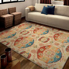 Beige Rings Loops Ovals Balls Contemporary Area Rug Geometric 2823