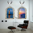 3D Window Sacred Cow Sea View Wall Stickers Decal Room Home Decor Art Scenery