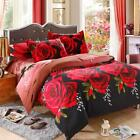 4Pcs 3D Printed Red Rose Queen King Twin Quilt Cover Bedding Set Bedclothes R0Z8