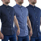 Mens Casual Shirts Stallion Formal Short Sleeve Slim Fit Cotton Shirt Tops New