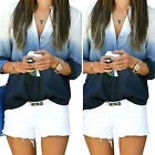 Fashion Womens V Neck Casual Long Sleeve T-Shirt Gradient Color White Blue Tops