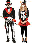 Mens Ladies Day Of The Dead Costume Bone Jangles Couples Halloween Fancy Dress
