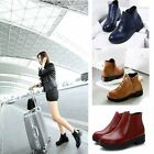New Fashion Women's Heels High Leather Loafer Ankle Short Boots Martin Shoes