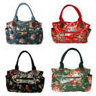 Retro Faux Leather Oil Cloth Tote Flower Floral Holdall Handbag Shopping Bag