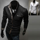 Mens New Luxury Slim Business Casual Dress Shirts Long Sleeve Formal Top W262