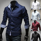 Mens New Fashion Luxury Long Sleeve Business Casual Dress Shirts Formal Top W314