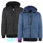 Mens Fur Lined Winter Hooded Jacket Mens Thick Hooded Zipper Zip Up with Pockets