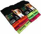 Mens 6 Pairs Black Classic Sports Boxers Underwear with Neon Bright Band button