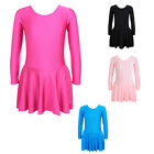 Girls Dancing One Piece Polyamide Costumes Gymnastic Skate Long Sleeve