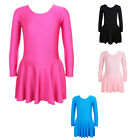 Kids Girls Leotard Ballet Dance Costumes Gymnastic Skate Long Sleeve Dress 3-14Y