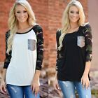 Summer Women O-neck Camouflage Long Sleeve Tops Sequined Pocket  T-shirt Blouse