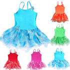 Girls Dance Gauze Polyamide Ballet Dress Butterfly Gymnastic Sleeveless