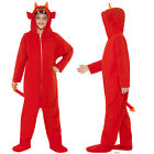 Smiffy's Kids Red Devil All In One Hooded Bodysuit Halloween Fancy Dress Costume