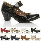 WOMENS LADIES MID BLOCK HEEL MARY JANE HOOK&LOOP CUT OUT BROGUE COURT SHOES SIZE