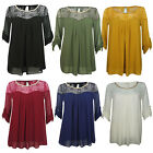 New Ladies Womens Chiffon  Shirt Casual Lace Shoulder  Blouse Loose Tops