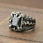 Men's Silver Dragon Claw Black Cubic Zirconia CZ 316L Stainless Steel Biker Ring