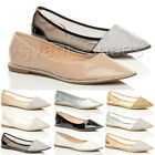 WOMENS LADIES DIAMANTE TRIM POINTED TOE FLAT MESH DOLLY BALLERINA SHOES SIZE