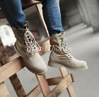 Women Military Combat Boots Round Toe High Top Lace Up Riding Desert Boots Shoes