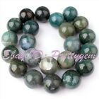 """18mm Smooth Round Shape Green Moss Agate Gemstone Spacer Loose Beads Strand 15"""""""
