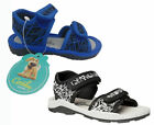 Boys Shoes Grosby Stefan Black/White Hook And Loop Surf Sandal 4-10 New Sandals
