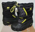 Sorel Kids Flurry TP Waterproof snow boots Black / Chartreuse NEW