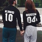 King Queen Couple Men Women Long Sleeve Sweater Casual Sweatshirt Casual Top