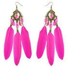 JF177 wholesale lots Feather chandelier earrings cute bead leaf U pick quantity