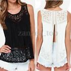 Zanzea Ladies Shirts Sleeveless Tops Vest Tank Lace Chiffon Lace Crochet Cut out