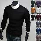 Mens New Fashion Slim Fit Knit Round Crewneck Sweater Long Sleeve Top W517 XS~XL