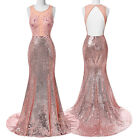New Formal Long Evening Gown Party Prom Bridesmaid Dress Pink Mermaid Backless