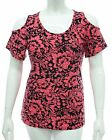 WOMENS 16 TO 26 STRETCH CUT SHOULDER TOP BLACK PINK PRINT LADIES