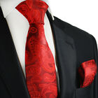 Pompeian Red Silk Tie and Pocket Square by Paul Malone
