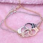 New Women Punk Silver Gold Plated Freedom Carved Charms Chain Handcuffs Bracelet