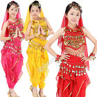 Children Belly Dancing Costume Set Girls Indian Dance Carnival Outfits 6pcs Suit
