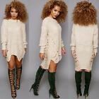 Women Long Sleeve Oversized Knitted Sweater Jumper Cardigan Outwear Coat New MO