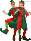 Adults Elf Costume Mens Ladies Christmas Fancy Dress Xmas Santas Helper Outfit