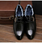 Mens Warm Lace Up Business Formal Weeding Shoes Pointed Toe Flat Casual New D589
