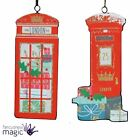 Gisela Graham Traditional London Telephone Box Letter Wood Christmas Decoration