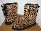 Ugg Kids Youth Bailey Bow Leopard Suede Chestnut Black bo...