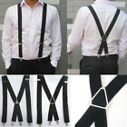Popualr Men 4 Colors Elastic Suspenders Leather Braces X-Back Adjustable Clip-on
