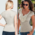 S-XL New Women Summer V-neck Short Sleeve Lace Blouse Casual Tank Tops T-Shirt