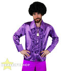 MENS PURPLE 1970S DISCO RUFFLE SHIRTS ADULTS FANCY DRESS COSTUME 70S FRILLY TOP