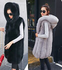 Women's Faux Fox Fur Hooded Vest Coat Winter Fashion Waistcoat Long Warm Outwear