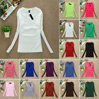 Casual Womens Plain Color V-Neck Ladies Basic Long Sleeve Stretch T-Shirt Tops