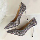 Womens Glitter Pumps High Heel Wedding Bride Xmas Party Shoes Silver White