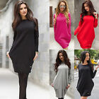 New Women Pockets Long Sleeve Crew Neck Shirt Casual Loose Long Tops Mini Dress