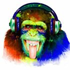 Cheeky Monkey Headphones Music Abstract WALL ART CANVAS FRAMED OR POSTER PRINT