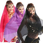 Women Sequin Bead  Belly Dance Chiffon Face Veil Gold Coin Scarf Bollywood Shawl